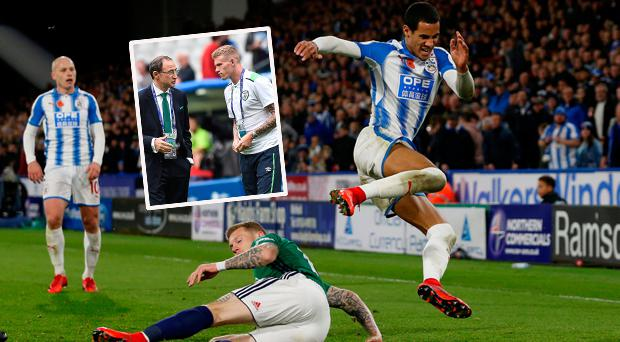 James McClean tackles Tom Ince and (inset) with Martin O'Neill