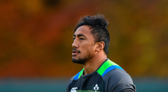 Bundee Aki during Ireland rugby squad training at Carton House in Maynooth, Kildare. Photo by Brendan Moran/Sportsfile