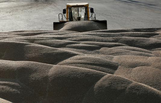 FILE PHOTO: A driver operates a tractor to pile wheat grains at the drying house of the Solgonskoye farming company near the village of Talniki, southwest of the Siberian city of Krasnoyarsk, Russia August 28, 2016. REUTERS/Ilya Naymushin/File Photo
