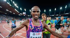 Mo Farah of Great Britain celebrates his win during the Diamond League Athletics meeting 'Weltklasse' on August 24, 2017 at the Letziground stadium in Zurich, Switzerland. (Photo by Robert Hradil/Getty Images)