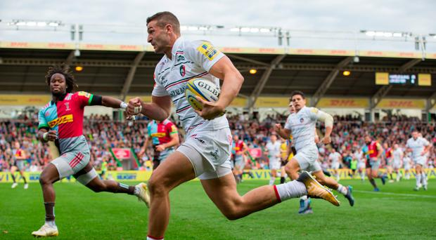Leicester Tigers' Jonny May runs in for a try during the Aviva Premiership match between Harlequins and Leicester Tigers at Twickenham Stoop on September 23, 2017 in London, England. (Photo by Craig Mercer - CameraSport via Getty Images)