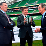 IRFU Chief Executive Philip Browne, bid ambassador Brian O'Driscoll and Chairman of the Bid's Oversight Board Dick Spring. Photo: Ramsey Cardy/Sportsfile