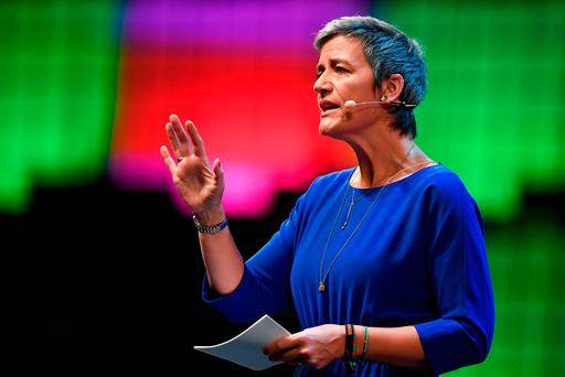 European Commissioner for Competition Margrethe Vestager delivers a speech during the 2017 Web Summit in Lisbon