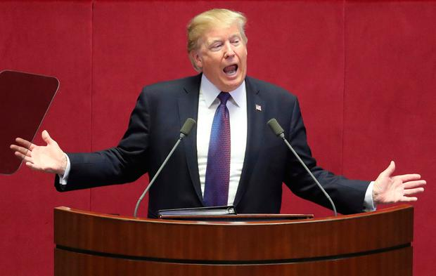 U.S. President Donald Trump delivers a speech at the National Assembly in Seoul, South Korea, Wednesday, Nov. 8, 2017. President Trump delivered a sharp warning to North Korean leader Kim Jong Un on Wednesday, telling him the weapons he's acquiring