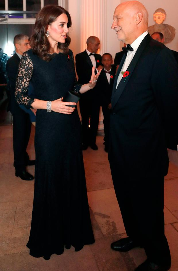 Catherine, Duchess of Cambridge speaks to Peter Fonagy at the 2017 Gala Dinner for The Anna Freud National Centre for Children and Families (AFNCCF) at Kensington Palace on November 7, 2017 in London, England. (Photo by Frank Augstein - WPA Pool/Getty Images)