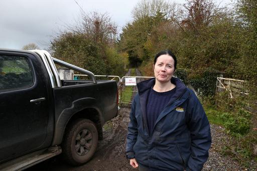 Annette Meacle sister of Richie McKelvie, pictured at the entrance to his farm at Coolderry/Kilcolman, Co. Offaly today, PIC COLIN O'RIORDAN