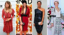 (L to R) Paris Jackson, Robyn Lawley and others at the Melbourne Cup