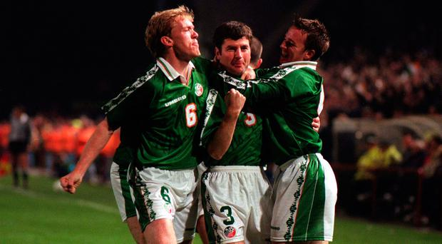 Denis Irwin (centre) celebrates with Steve Staunton, left and David Connolly during the Ireland v Belgium World Cup first-leg play-off in Dublin. Photo: Matt Browne SPORTSFILE