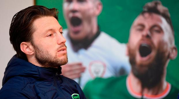 Harry Arter during Republic of Ireland squad press conference at FAI National Training Centre in Abbotstown Dublin