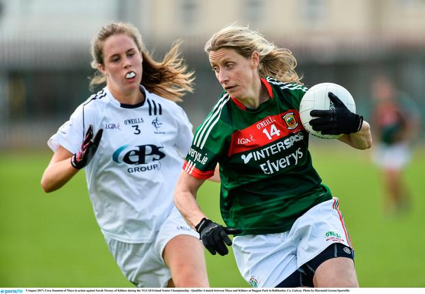 Cora Staunton of Mayo in action against Sarah Tierney of Kildare earlier this year. Photo: Diarmuid Greene/Sportsfile