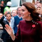 Britain's Catherine, Duchess of Cambridge and patron of national children's mental health charity Place2Be, greets onlookers on her arrival at the annual Place2Be School Leaders Forum in London on November 8, 2017. / AFP PHOTO / POOL / John PhillipsJOHN PHILLIPS/AFP/Getty Images