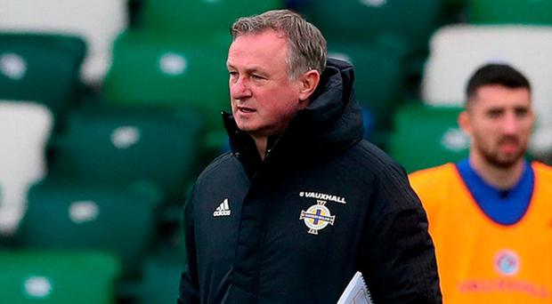 Northern Ireland manager Michael O'Neill during squad training at Windsor Park, Belfast. Photo: PA