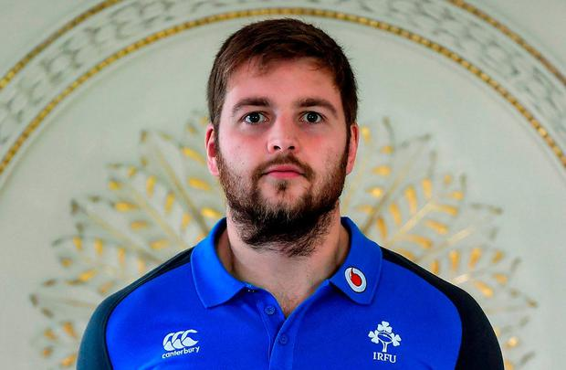 Iain Henderson poses for a portrait after an Ireland rugby press conference at Carton House in Maynooth, Kildare. Photo: Brendan Moran/Sportsfile