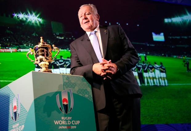 World Rugby chairman Bill Beaumont with the Webb Ellis Cup – Ireland's bid for the 2023 tournament is in serious trouble. Picture: AP