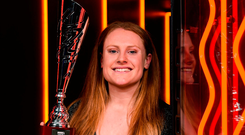 Peamount United's Amber Barrett with her senior player of the year trophy at the Continental Tyres Women's National League Awards Photo by Eóin Noonan/Sportsfile