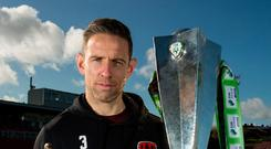 Alan Bennett of Cork City F.C. with his SSE Airtricity/SWAI Player of the Month Award for September 2017