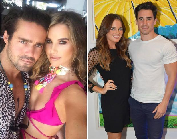 Spencer Matthews and Vogue Williams, left, Binky Felstead and Josh 'JP' Patterson, right