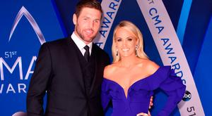 Mike Fisher and singer-songwriter Carrie Underwood attend the 51st annual CMA Awards at the Bridgestone Arena on November 8, 2017 in Nashville, Tennessee. (Photo by Michael Loccisano/Getty Images)