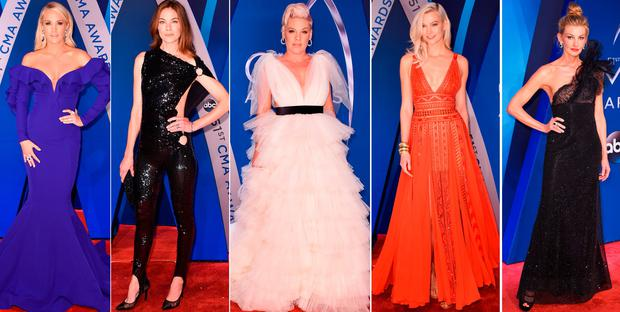 (L to R) Carrie Underwood, Michelle Monaghan, Pink, Karlie Kloss and Faith Hill at the Country Music Awards