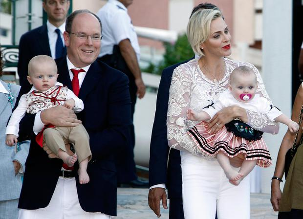 Prince Albert II and his wife Princess Charlene of Monaco arrive with their twins, Prince Jacques and Princess Gabriella, to take part in the traditional