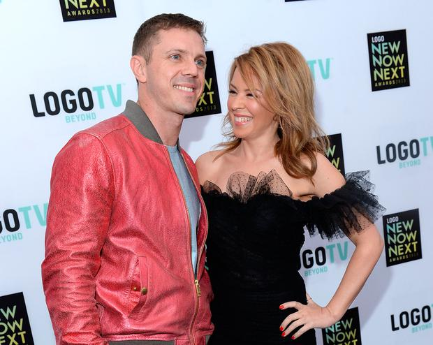 Singers Jake Shears (L) and Kylie Minogue attend the 2013 NewNowNext Awards at The Fonda Theatre on April 13, 2013 in Los Angeles, California. (Photo by Michael Buckner/Getty Images for LOGO)