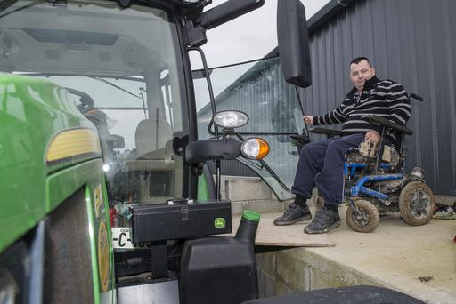 Richard Barney O'Connell, Ballyvorisheen, Mallow, Co Cork is pictured using a ramp to access his tractor following a life changing accident. Photo O'Gorman Photography.