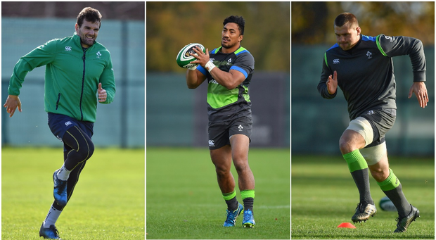 Jared Payne (left), Bundee Aki (centre) and CJ Stander (right).