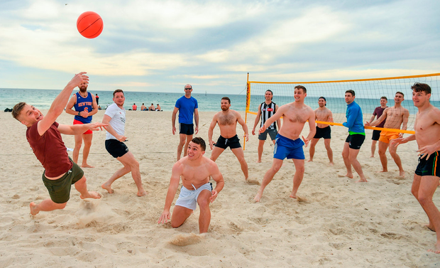 All eyes are on the ball as Peter Crowley tries to make a return during the Ireland International Rules squad's trip to Glenelg Beach in Adelaide. Photo by Ray McManus/Sportsfile