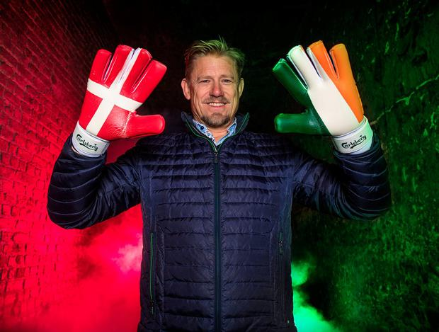 Peter Schmeichel was in Dublin to announce Carlsberg's plan to give Ireland fans in Copenhagen a free pass to the Carlsberg Experience and a free pint. Photo: Dan Sheridan/INPHO