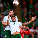 Shane Duffy wins one of the many headers in what was a dominant aerial display against Wales in Cardiff. Photo by Stephen McCarthy/Sportsfile
