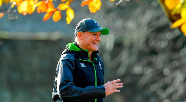 Joe Schmidt was in relaxed mood under the winter sun at Carton House yesterday ahead of tomorrow's Test with South Africa. Photo by Brendan Moran/Sportsfile
