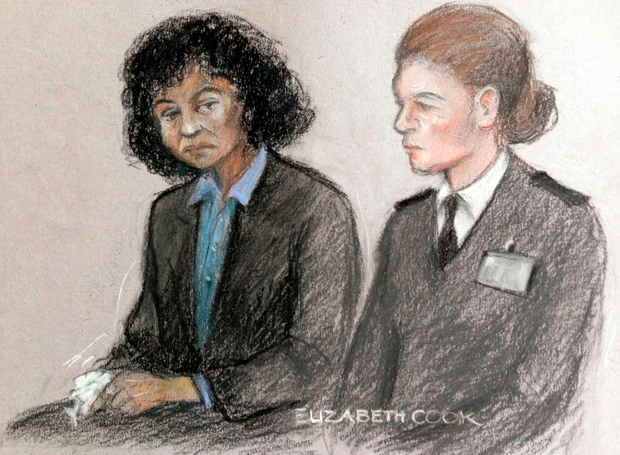 ACourt artist sketch by Elizabeth Cook of Berlinah Wallace (left) in the dock at Bristol Crown Court, where she denies charges of murder and applying a corrosive fluid to Mark Van Dongen, who was left paralysed and subsequently took his own life at a euthanasia clinic. Elizabeth Cook/PA Wire