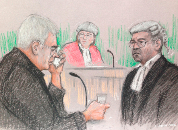 Court artist sketch by Elizabeth Cook of Cornelius Van Dongen, father of Mark Van Dongen, at Bristol Crown Court, where Berlinah Wallace denies charges of murder and applying a corrosive fluid to Mark Van Dongen, who was left paralysed and subsequently took his own life at a euthanasia clinic. Elizabeth Cook/PA Wire