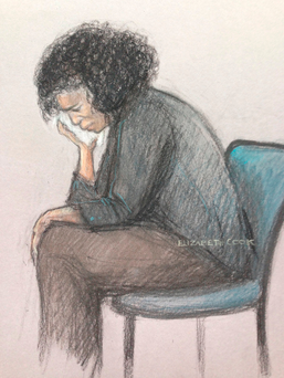 Court artist sketch by Elizabeth Cook of Berlinah Wallace in the dock at Bristol Crown Court, where she denies charges of murder and applying a corrosive fluid to Mark Van Dongen, who was left paralysed and subsequently took his own life at a euthanasia clinic. Elizabeth Cook/PA Wire