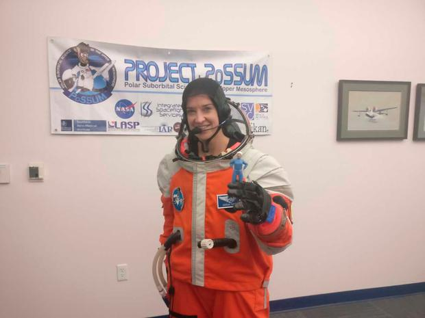 Norah during space suit training