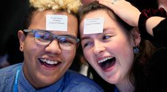 Alannah O'Leary (16) and Luca Bishop (17) from Newpark Comprehensive School in Blackrock, Dublin, at the #DigitalYouth17 event Photo: Mark Stedman