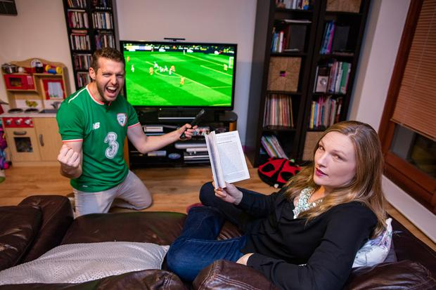 Sporting rivals: Gavin and Lynne Caffrey have opposing views on a fixture-heavy day like tomorrow Photo: Arthur Carron