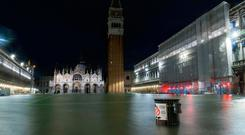 High water covers St. Mark square in Venice, Italy, in the early hours of Monday.