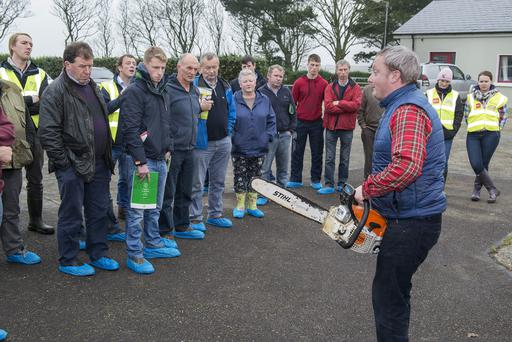 Michael Somers, Teagasc Forestry Department advises farmers on safety procedures when operating a chainsaw at a Teagasc - Health and Safety Authority Farm Safety Practical Event in Clonakilty Agricultural College, Clonakilty, Co Cork. Photo O'Gorman Photography.