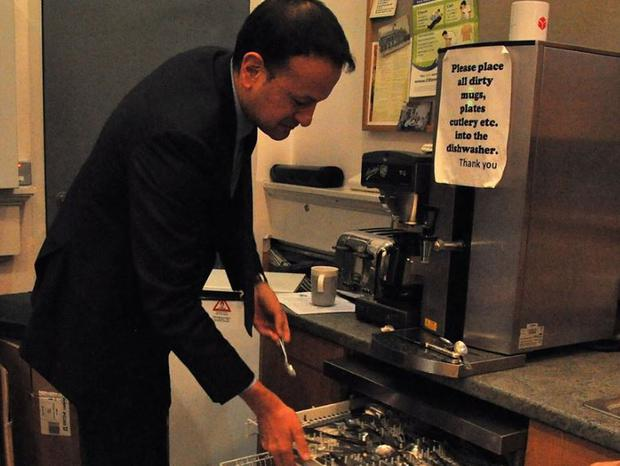 Leo Varadkar shared a photo of himself loading a dishwasher