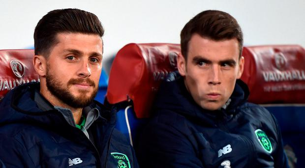 Seamus Coleman, right, and Shane Long of Republic of Ireland prior to the FIFA World Cup Qualifier Group D match between Wales and Republic of Ireland at Cardiff City Stadium in Cardiff, Wales. Photo by Stephen McCarthy/Sportsfile