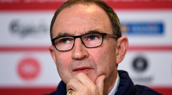 10 November 2017; Martin O'Neill during a Republic of Ireland press conference at Parken Stadium in Copenhagen, Denmark. Photo by Stephen McCarthy/Sportsfile