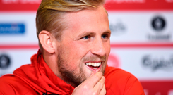Kasper Schmeichel during a Denmark press conference. Photo: Sportsfile
