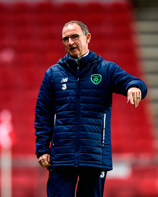 Republic of Ireland manager Martin O'Neill during a training session at Parken Stadium in Copenhagen. Photo: Sportsfile