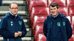 Martin O'Neill and Roy Keane keeping a watchful eye on their players during training at the Telia Parken Stadion in Copenhagen last night. Photo: Reuters