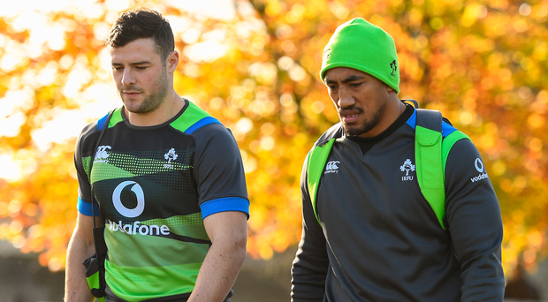 Robbie Henshaw and Bundee Aki arrive at Ireland training on Thursday to work on the centre partnership that proved so successful for Connacht. Photo: Sportsfile