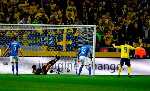 Jakob Johansson of Sweden scores the only goal of the game. Photo: Getty