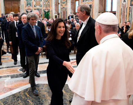 Pope Francis welcomes members of the disarmament symposium called 'Perspectives for a World Free from Nuclear Weapons and for Integral Disarmament'. Photo: Getty