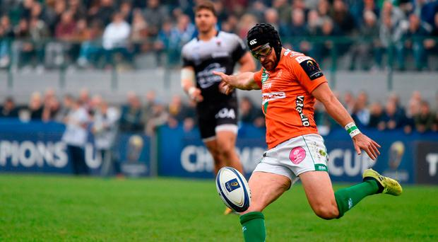 This file photo taken on October 21, 2017 shows Benetton Treviso's Irish fullback Ian McKinley kicking the ball during the European Rugby Champions Cup vs RC Toulon Photo:AFP PHOTO / MIGUEL MEDINAMIGUEL MEDINA/AFP/Getty Images