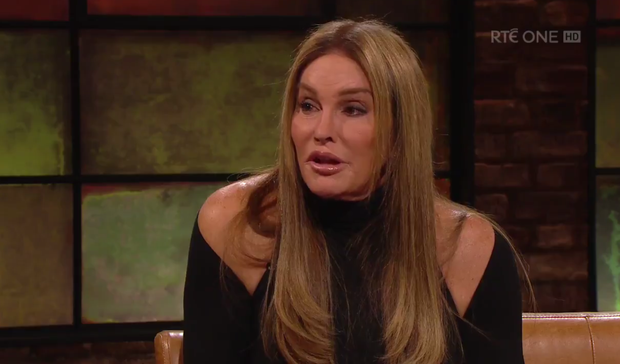 Caitlyn Jenner chats to Ryan Tubridy on the Late Late Show. Photo: RTE